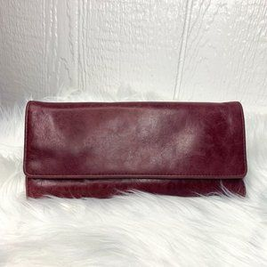HOBO Maroon Leather Trifold Envelope Wallet